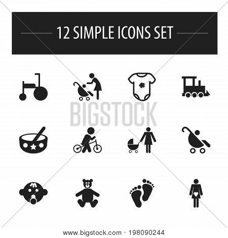 Set Of 12 Editable Kid Icons. Includes Symbols Such As Velocipede, Woman With Baby, Bike And More