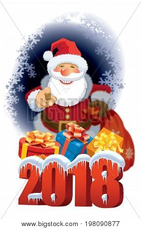Santa Claus with New Year 2018 over abstract winter background with snowflakes and gifts