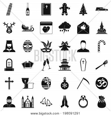 Bible icons set. Simple style of 36 bible vector icons for web isolated on white background