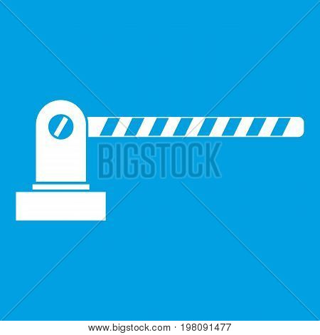 Parking barrier icon white isolated on blue background vector illustration