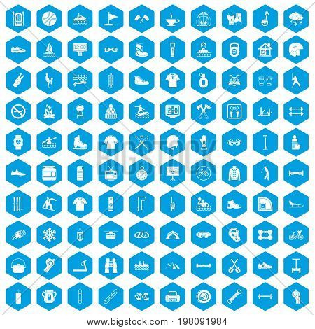 100 sport life icons set in blue hexagon isolated vector illustration
