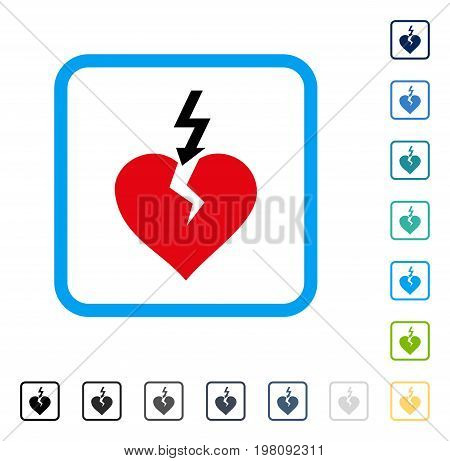 Break Heart icon inside rounded square frame. Vector illustration style is a flat iconic symbol in some color versions.