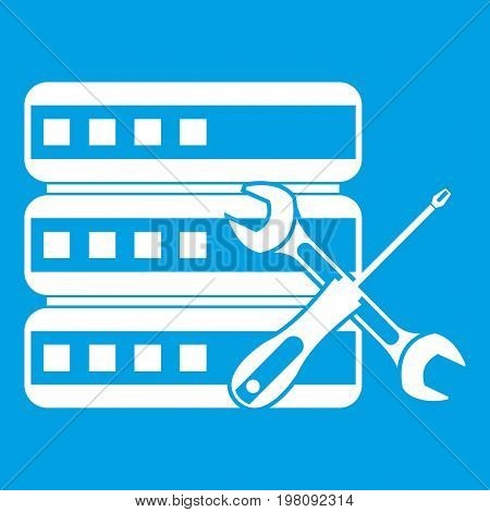 Database with screwdriver and spanner icon white isolated on blue background vector illustration