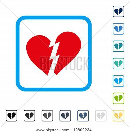 Broken Heart icon inside rounded square frame. Vector illustration style is a flat iconic symbol in some color versions.