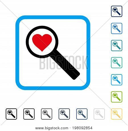 Find Love icon inside rounded rectangle frame. Vector illustration style is a flat iconic symbol in some color versions.