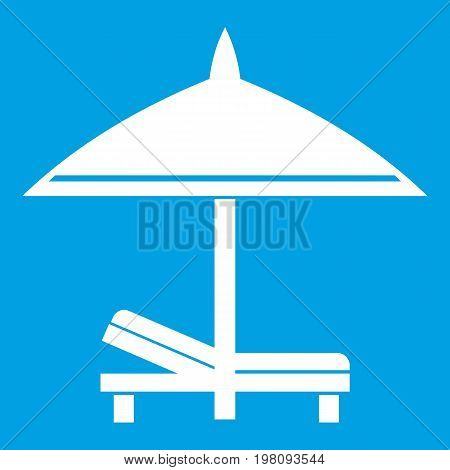 Bench and umbrella icon white isolated on blue background vector illustration