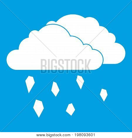 Clouds and hail icon white isolated on blue background vector illustration