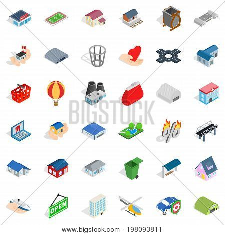 City house icons set. Isometric style of 36 city house vector icons for web isolated on white background