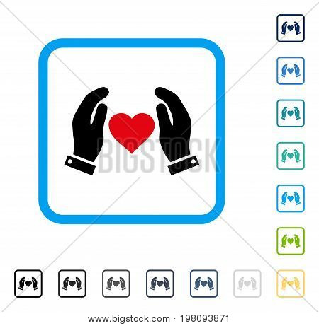 Love Care Hands icon inside rounded square frame. Vector illustration style is a flat iconic symbol in some color versions.