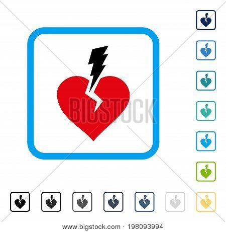 Love Heart Crash icon inside rounded square frame. Vector illustration style is a flat iconic symbol in some color versions.