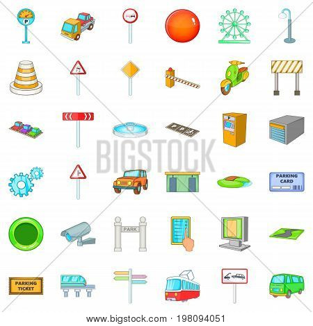 City geography icons set. Cartoon style of 36 city geography vector icons for web isolated on white background