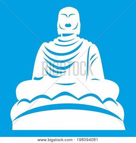 Buddha statue icon white isolated on blue background vector illustration
