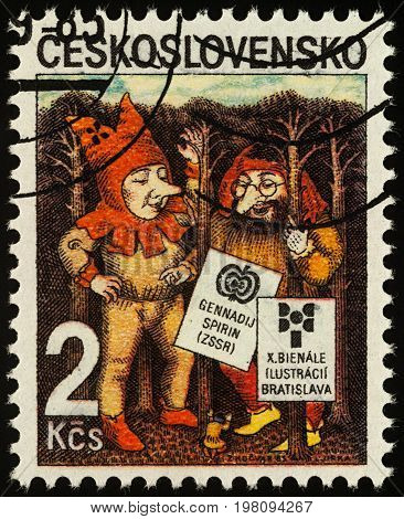 Moscow Russia - August 01 2017: A stamp printed in Czechoslovakia shows Elves by Gennady Spirin series