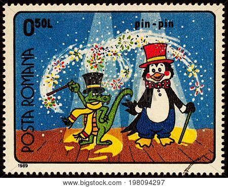 Moscow Russia - July 31 2017: A stamp printed in Romania shows frame from Cartoon film