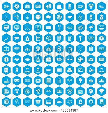 100 sweepstakes icons set in blue hexagon isolated vector illustration