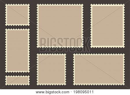Blank post stamp set. Empty postage stamp. Vintage frames isolated on background. Vector