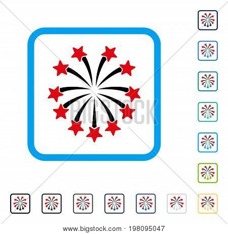 Spherical Fireworks icon inside rounded square frame. Vector illustration style is a flat iconic symbol in some color versions.