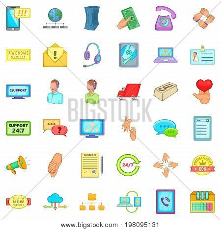 Client support icons set. Cartoon style of 36 client support vector icons for web isolated on white background