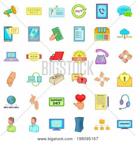 All day support icons set. Cartoon style of 36 all day support vector icons for web isolated on white background