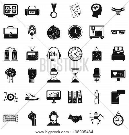 Round clock icons set. Simple style of 36 round clock vector icons for web isolated on white background