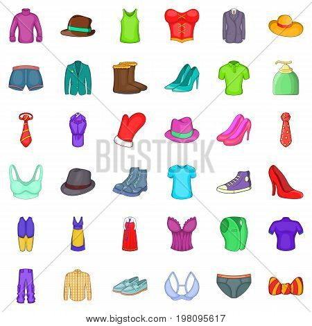 Accessories icons set. Cartoon style of 36 accessories vector icons for web isolated on white background