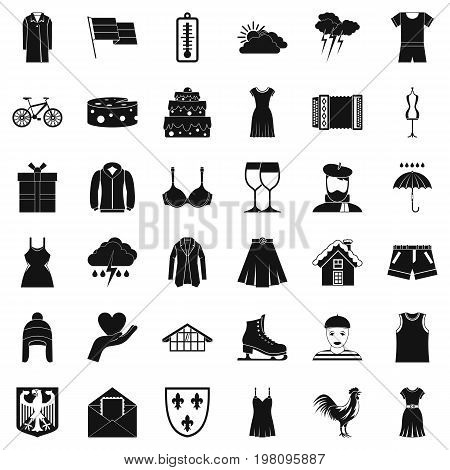 Season clothes icons set. Simple style of 36 season clothes vector icons for web isolated on white background