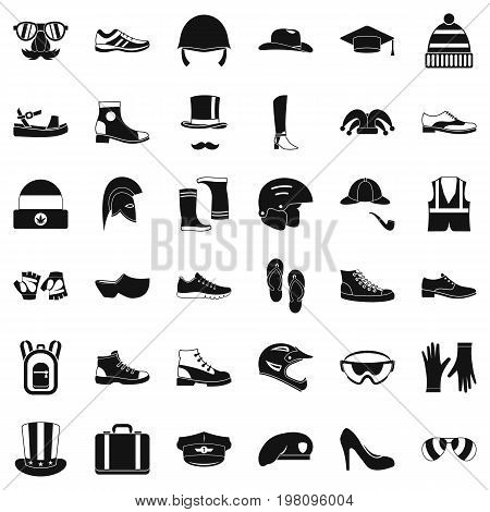 Stylish clothes icons set. Simple style of 36 stylish clothes vector icons for web isolated on white background