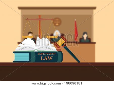 Employment Law books with a judges gavel judicial system set and three judges blured background Conceptual Law and justice set icon Vector illustration.