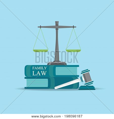 Family Law books with a judges gavel in flat style Conceptual Law and justice set icon Vector illustration.