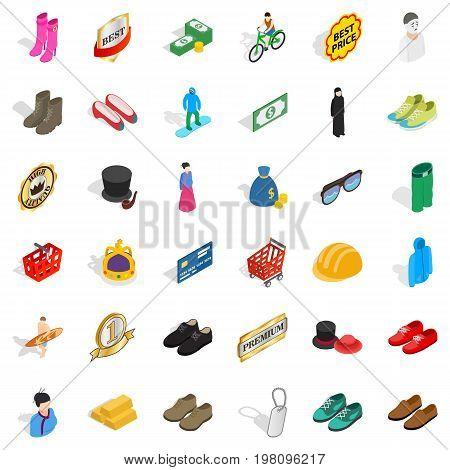 Stylish clothes icons set. Isometric style of 36 stylish clothes vector icons for web isolated on white background