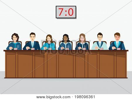 Group of professional Competition judges push button with estimates vector illustration.