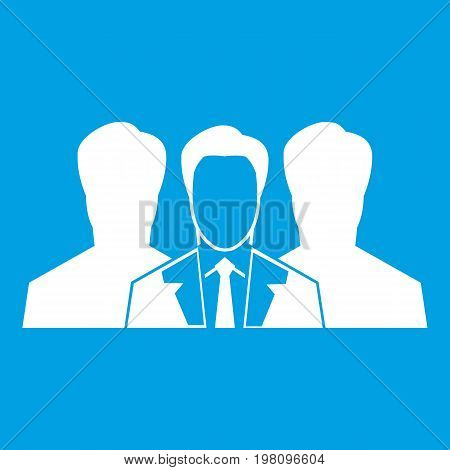 Recruitment icon white isolated on blue background vector illustration