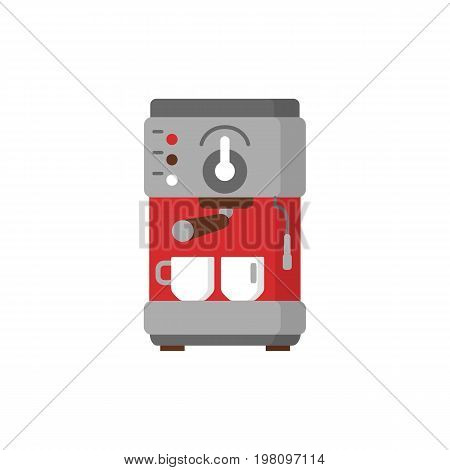 Modern coffee machine flat icon. Coffee maker with cups. Household appliances isolated on colored background.