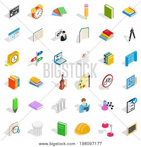 College icons set. Isometric style of 36 college vector icons for web isolated on white background