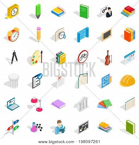 College education icons set. Isometric style of 36 college education vector icons for web isolated on white background