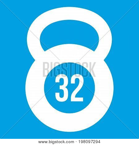 Kettlebell 32 kg icon white isolated on blue background vector illustration