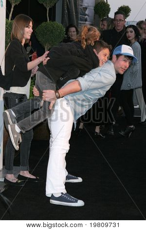 LOS ANGELES - APR 13:  Michael Muhney, with son Dylan and daughter Ella arriving at the 16th Los Angeles Antiques Show at Barker Hanger on April 13, 2011 in Santa Monica, CA