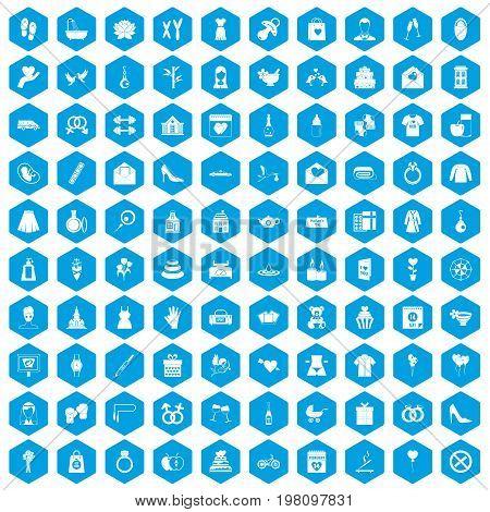 100 woman happy icons set in blue hexagon isolated vector illustration