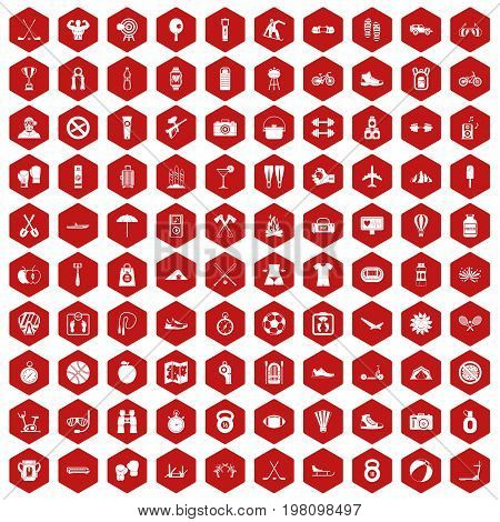 100 active life icons set in red hexagon isolated vector illustration