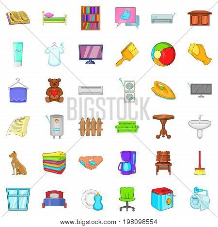 Comfort indoor icons set. Cartoon style of 36 comfort indoor vector icons for web isolated on white background