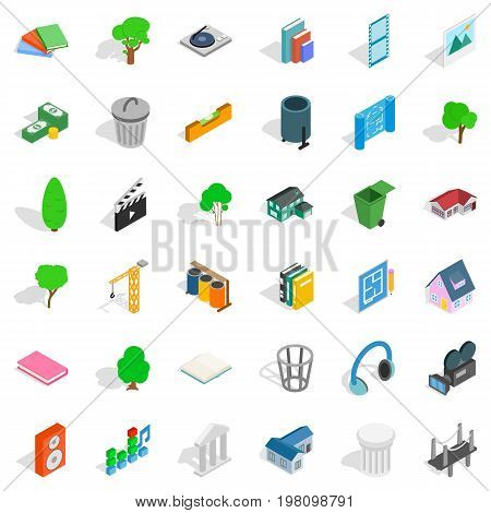 House in park icons set. Isometric style of 36 house in park vector icons for web isolated on white background