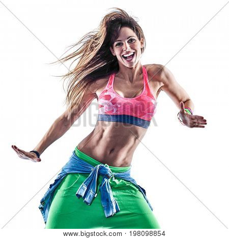 one caucasian woman cardio dancers dancing fitness exercising excercises in studio isolated on white background