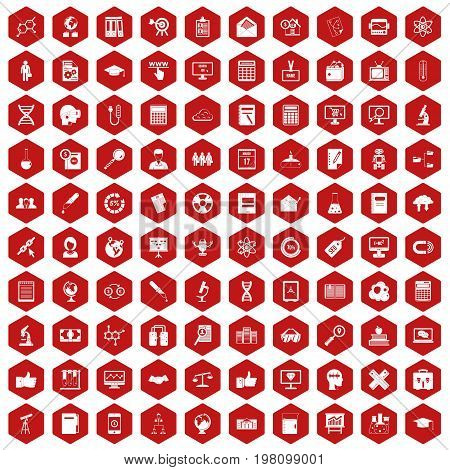 100 analytics icons set in red hexagon isolated vector illustration
