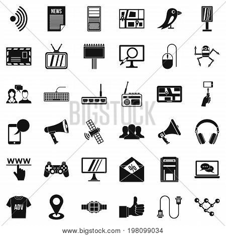 Talking icons set. Simple style of 36 talking vector icons for web isolated on white background