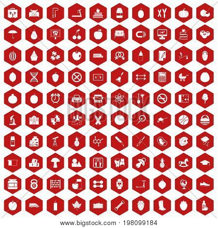 100 apple icons set in red hexagon isolated vector illustration