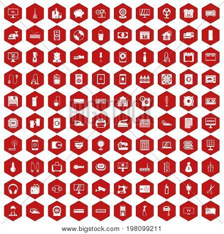 100 appliances icons set in red hexagon isolated vector illustration