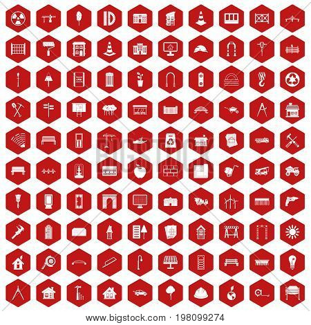 100 architecture icons set in red hexagon isolated vector illustration