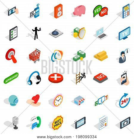 Internet icons set. Isometric style of 36 internet vector icons for web isolated on white background
