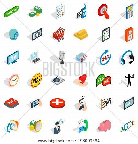 All day consultation icons set. Isometric style of 36 all day consultation vector icons for web isolated on white background