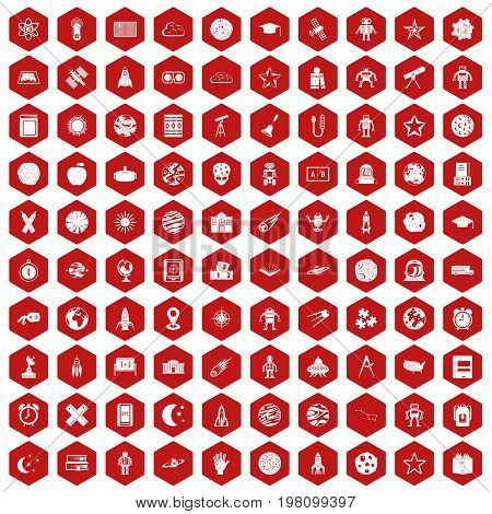 100 astronomy icons set in red hexagon isolated vector illustration